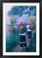 Framed Zhuang Girls Carrying Hay, China