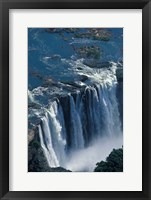 Framed Zambezi River Flowing over Victoria Falls, Mosi-Oa-Tunya National Park, Zambia
