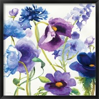 Framed Blue and Purple Mixed Garden I