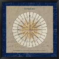 Framed Sphere Compass Blue