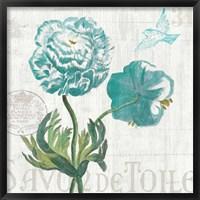 Floral Messages on Wood I Blue Framed Print