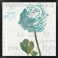 Framed Floral Messages on Wood II Blue