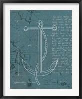 Coastal Blueprint VIII Dark Framed Print