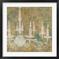 Framed Faded Ornate I Aqua