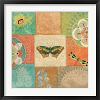 Folk Floral IV Center Butterfly Framed Print