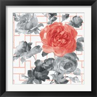 Framed Geometric Watercolor Floral I