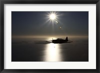 Framed silhouette of North American T-6 Texan warbird in Swedish Air Force colors