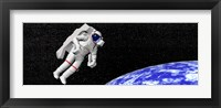 Framed Astronaut floating in outer space above planet Earth