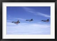 Framed Saab JA 37 Viggen and Saab JAS 39 Gripen fighters of the Swedish Air Force