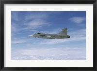Framed Saab JAS 39 Gripen fighter of the Swedish Air Force