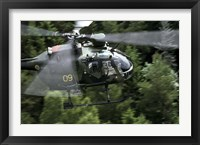 Framed MBB Bo 105 helicopter of the Swedish Air Force