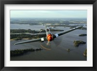 Framed Front View of North American P-51 Mustang in flight over Vasteras, Sweden