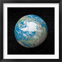 Framed 3D rendering of planet Earth centered on the North Pole