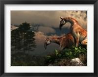 Framed pair of Macrauchenia on a hillside