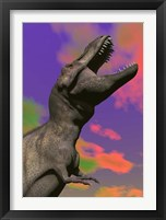 Framed Tyrannosaurus Rex roaring against a colorful sky