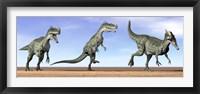 Framed Three Monolophosaurus dinosaurs standing in the desert