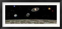 Framed View of the universe and planets as seen from a distant moon