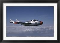 Framed de Havilland DH 115 Vampire trainer in the air over Sweden