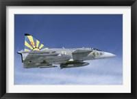 Framed Saab JA 37 fighter of the Swedish Air Force