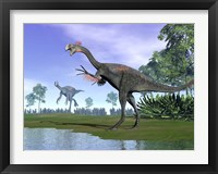 Framed Two Gigantoraptor dinosaurs in a prehistoric environment