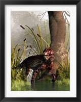 Framed Lycaenops stalking through a shallow prehistoric wetland