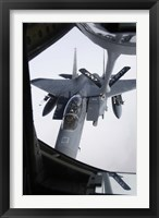 Framed Air refueling a F-15E Strike Eagle of the US Air Force