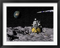 Framed Apollo on surface of moon, with Saturn V rocket in the background