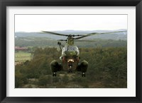 Framed Backside view of an A CH-46 Sea Knight helicopter