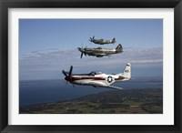 Framed P-51 Cavalier Mustang with Supermarine Spitfire fighter warbirds