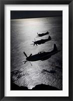 Framed Three P-51 Cavalier Mustang warbirds in flight