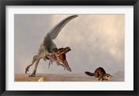 Framed velociraptor chasing a rat sized mammal