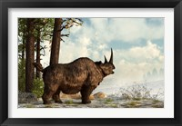 Framed woolly rhinoceros trudges through the snow, Pleistocene epoch