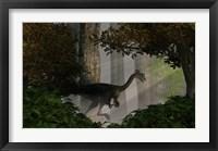 Framed Gigantoraptor in a dense prehistoric forest