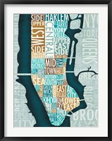Framed Manhattan Map Blue Brown