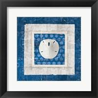 Framed Sea Shell I on Blue