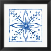 Framed Tile Stencil I Blue