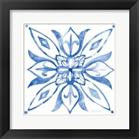 Framed Tile Stencil II Blue