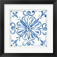 Framed Tile Stencil IV Blue