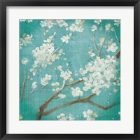 Framed White Cherry Blossoms I on Blue Aged No Bird