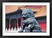 Framed China, Beijing, Lion statue guards Forbidden City