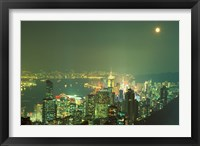 Framed City Lights at Twilight From Victoria Peak, Central District, Hong Kong, China