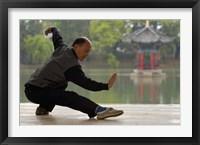 Framed Man Doing Tai Chi Exercises at Black Dragon Pool with One-Cent Pavilion, Lijiang, Yunnan Province, China