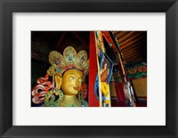 Framed Dalai Lama Picture Beside Maitreya Buddha, Thiksey Monastery, Thiksey, Ladakh, India