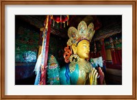Framed Golden Maitreya Buddha, Thiksey Monastery, Thiksey, Ladakh, India