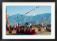 Framed Tibetan Ceremony in Shanti Stupa, Leh, Ladakh, India