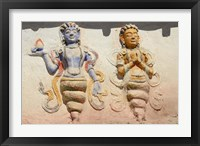 Framed Indian And Buddhist Gods On Temple, Thiksey, Ladakh, India