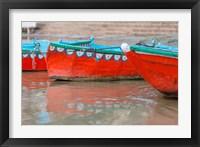 Framed Wooden Boats in Ganges river, Varanasi, India