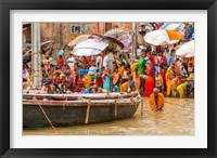 Framed Worshipping Pilgrims on Ganges River, Varanasi, India