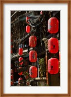 Framed Old Town red lanterns outside restaurants, Xinhua Jie Street, Lijiang, Yunnan Province, China