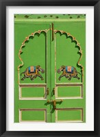 Framed Elephants painted on green door, City Palace, Udaipur, India